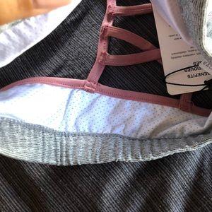 The Free Yoga Intimates & Sleepwear - The Free Yoga Gray & Pink Criss-Cross Sports Bra